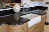 Our ever popular Premium Black granite shown here. This display has a domus edge and incorperates a recess drainer.