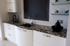 Marinace Nero worktop maks an ideal contrast for these white base units.